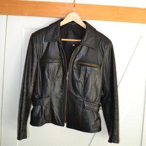 Real Leather motorcycle Jacket Black